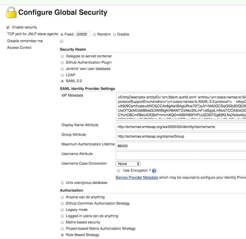 Configure global security
